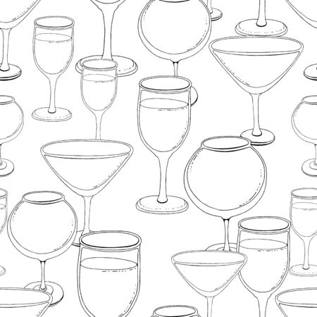 Hand-drawn sketch of wine glass. Seamless glassware background. Glassware pattern. Black and white style. Vintage. white background. a glass of shompansky, a glass for wine, a glass for margarita, vermouth and other alcohol Illustration
