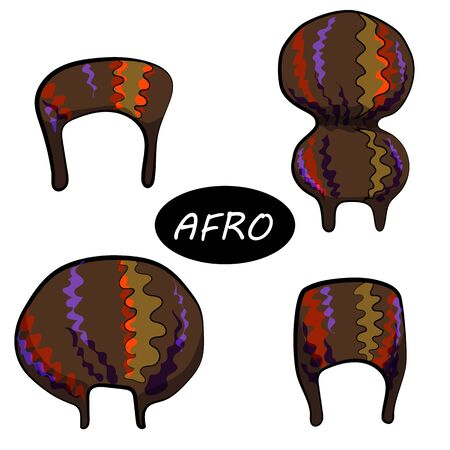 Set of female afro hairstyles. Collection of dreads and afro braids for a girl. Wavy hair, curls, dreadlocks. Flat style. stylized illustration. African-American hair, ethnicity. voluminous hairstyle, beautiful waves Ilustração
