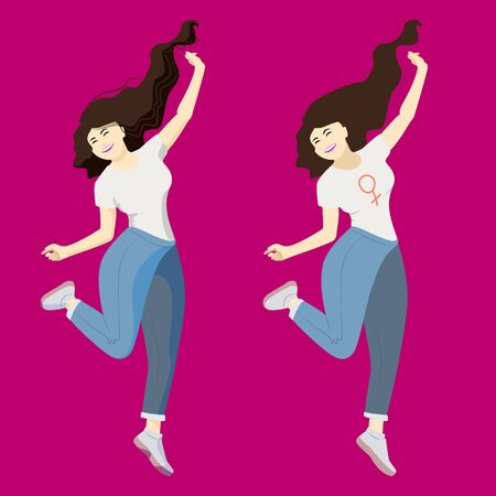 a young cheerful woman. the girl jumps, happily throws her hands in different directions, one leg is bent, hair dynamically develops. The blonde brunette smiles broadly. happy woman in blue jeans and a white T-shirt. Isolate. vector image. stock picture. concept of joie de vivre, strong woman. girl power.