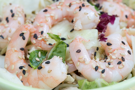 shrimps healthy lunch Stock Photo