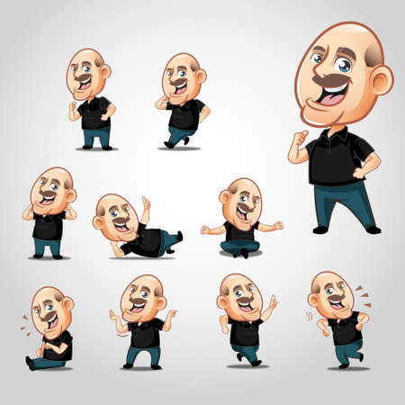 10 Expressions old man mascot pack, High quality vector character mascot illustration. Available in JPG high resolution and fully customizable