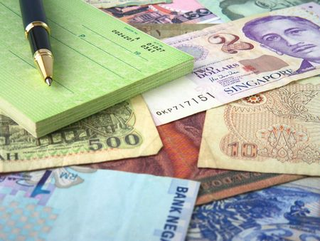 blank check: Different money and blank check with pen