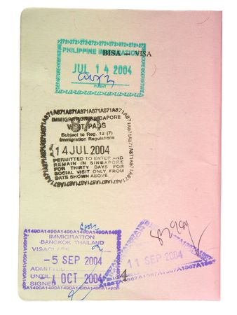 endorsement: Stamped passport page. Stock Photo
