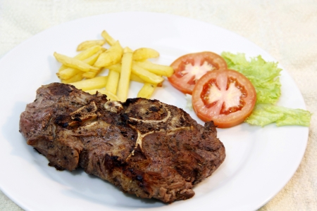 A beef steak with garnishing on a plate photo