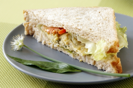 sandwitch: Egg sandwitch garnish with fresh herbs and vegetables Stock Photo