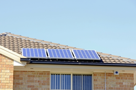 Solar panel on the roof that supply electricity  photo