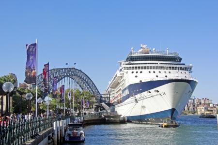 SYDNEY - NOVEMBER 22  The Iconic Sydney Harbour Bridge busy with tourist visitors docked a cruise ship   November 22, 2013 in Sydney, Australia