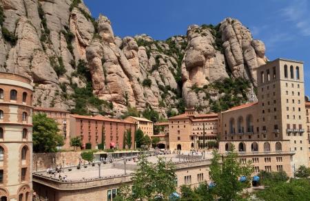 monastery nature: Montserrat Monastery  Catalonia  Spain Stock Photo