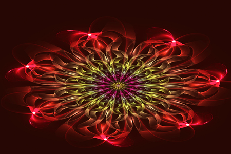 Abstract fractal, red flower on dark background. Abstract painting color texture. Computer-generated image.