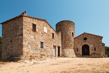 Chapel and tower of Santa Barbara. Costa Brava, Catalonia, Spain