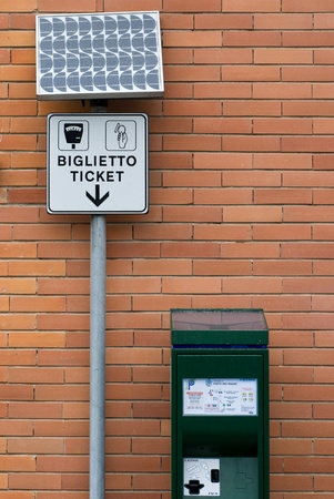 parking ticket: Automatic parking ticket dispenser powered by solar cells. Editorial
