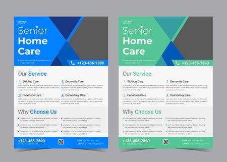 senior care flyer design. promotional for senior care service. old age care flyer