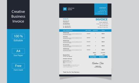 Bill form business invoice. Invoice minimal design template. money bills Ilustração Vetorial