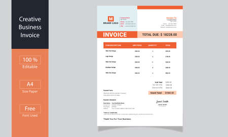 Minimalist Business Invoice, Business invoice form template, price invoices