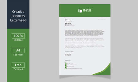 Minimalist letterhead template, Corporate Business Letterhead Ilustracja