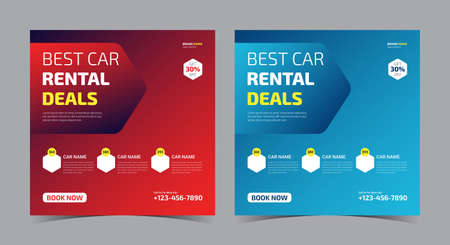 best car rental social media post. best car rent flyer template