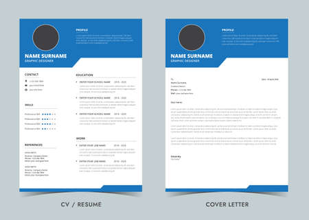 Resume template. Cv professional and Cover Letter, Minimalist resume cv template.