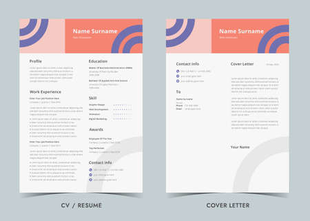 Resume template. Cv professional, Resume and Cover Letter, Minimalist resume cv template.