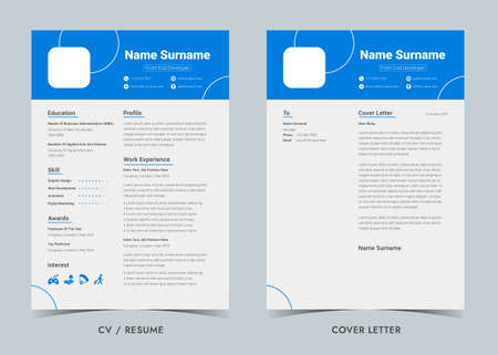 Resume and Cover Letter,Resume template. Cv professional.