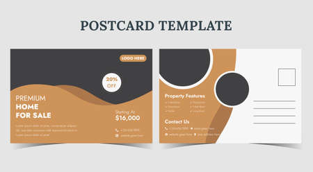 Real estate postcard template, home for sale postcard, postcard design