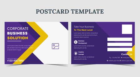Corporate business postcard template design, postcard for business promotion, business solution postcard template