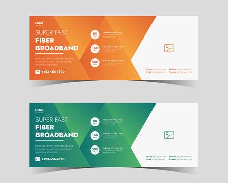 broadband service social media cover. high speed internet service social media cover. internet service provider social media cover design Vettoriali