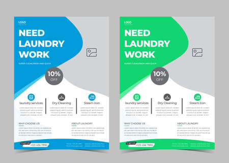 Laundry service flyer template. Creative laundry service poster. Laundry cleaning service leaflet template.