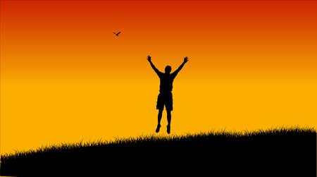 jogging in nature: Jumping men