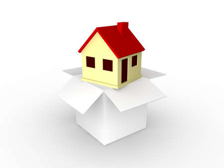 Home in moving box  Stock Photo - 8496058