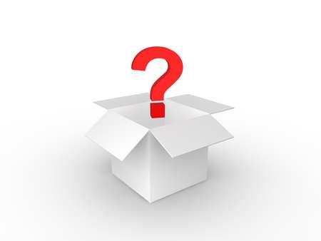 Question Mark in cardboard box  Stock Photo - 8496057