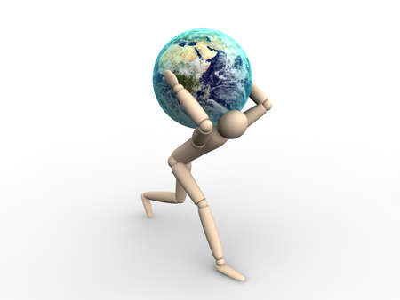 Man carrying Earth Banque d'images