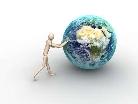 Man pushing Earth