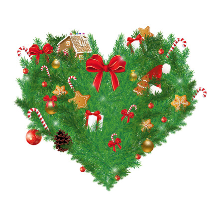 sugar cane: Illustration of Heart shaped Christmas pine with various Christmas items cookies, sugar cane, ribbon, gift boxes