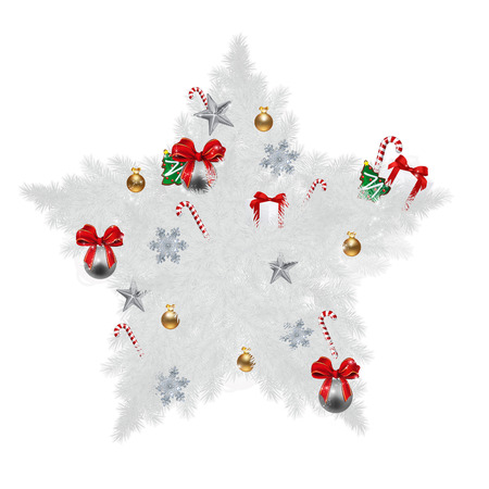 sugar cookies: Illustration of Star shaped Christmas pine with various Christmas items cookies, sugar cane, ribbon, gift boxes