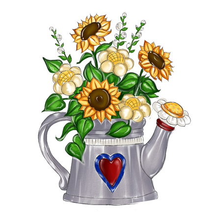 drawn metal: watercolor hand drawn illustration - sunflower bouquet inside metal watering can