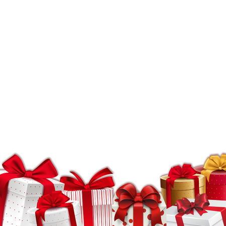 cajas navide�as: Frontera de la decoraci�n de Navidad - marco - cajas de regalo con cintas rojas
