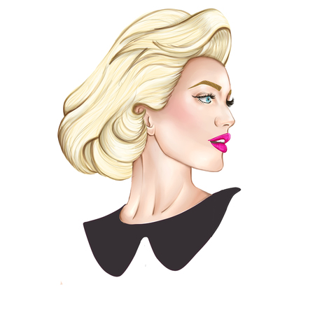 black hair blue eyes: fashion background illustration - portrait of blonde elegant woman