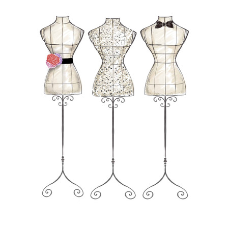 Fashion Illustration hand draw watercolor - mannequins