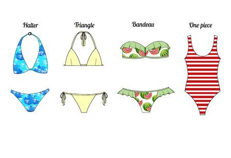 swim suit: Fashion Illustration - different type of swim suit