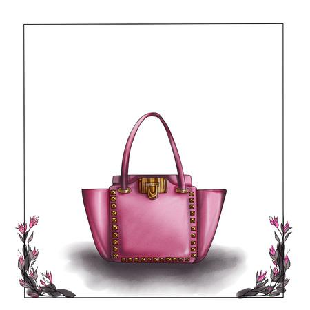 designer bag: fashion illustration - watercolor raster illustration of a designer bag Stock Photo