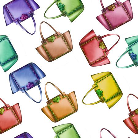 designer bag: Seamless Pattern - All Over background - Watercolor fashion designer bag