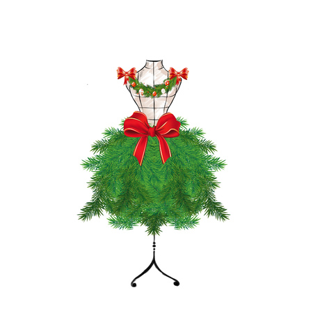 seasonal: Seasonal Fashion Illustration - Christmas tree on a mannequin Stock Photo