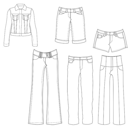 mini skirt: Flat template sketches of different denim jeans and clothes - Set of denim clothes Stock Photo