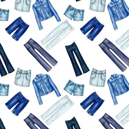 mini skirt: Seamless Pattern - All over - Background with different denim jeans and clothes Stock Photo