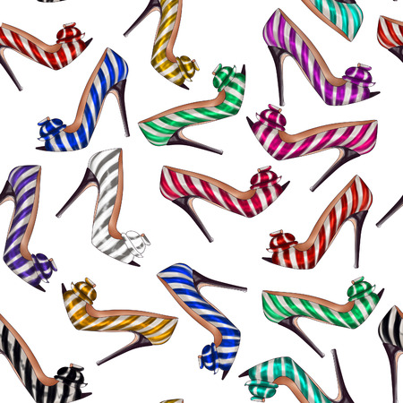 stiletto: seamless pattern all-over striped background with bright and colorful stiletto shoes