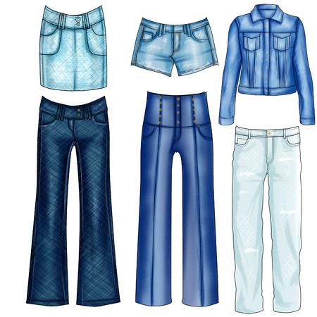 denim jeans: Fashion Illustration of different denim jeans and clothes - Set of denim clothes
