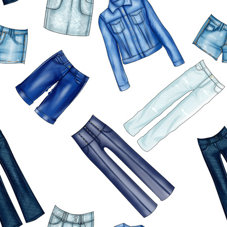 trouser legs: Seamless Pattern - All over - Background with different denim jeans and clothes Stock Photo