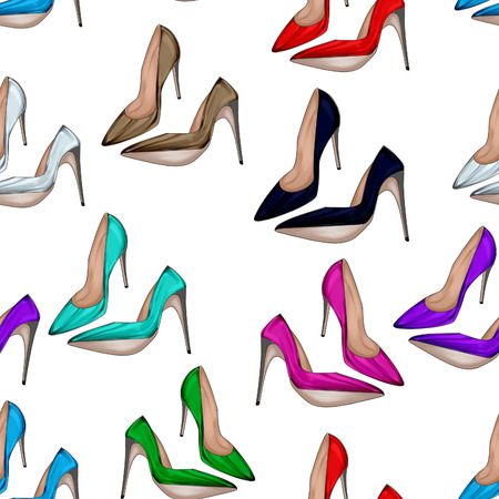 fetish wear: Seamless Pattern - All over background with stiletto shoes in various bright colors Stock Photo