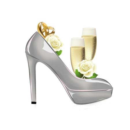 sexy bride: fashion illustration background - raster illustration - wedding shoes with wedding bands Stock Photo