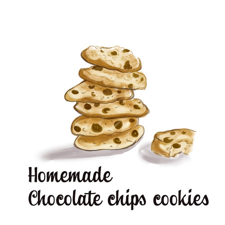 chocolate cookie: Watercolor illustration of cookies Stock Photo